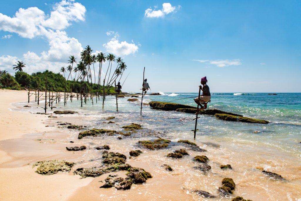 sri lanka poles fishermen beach mirissa