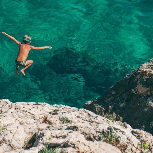 croatia boy water diving hvar