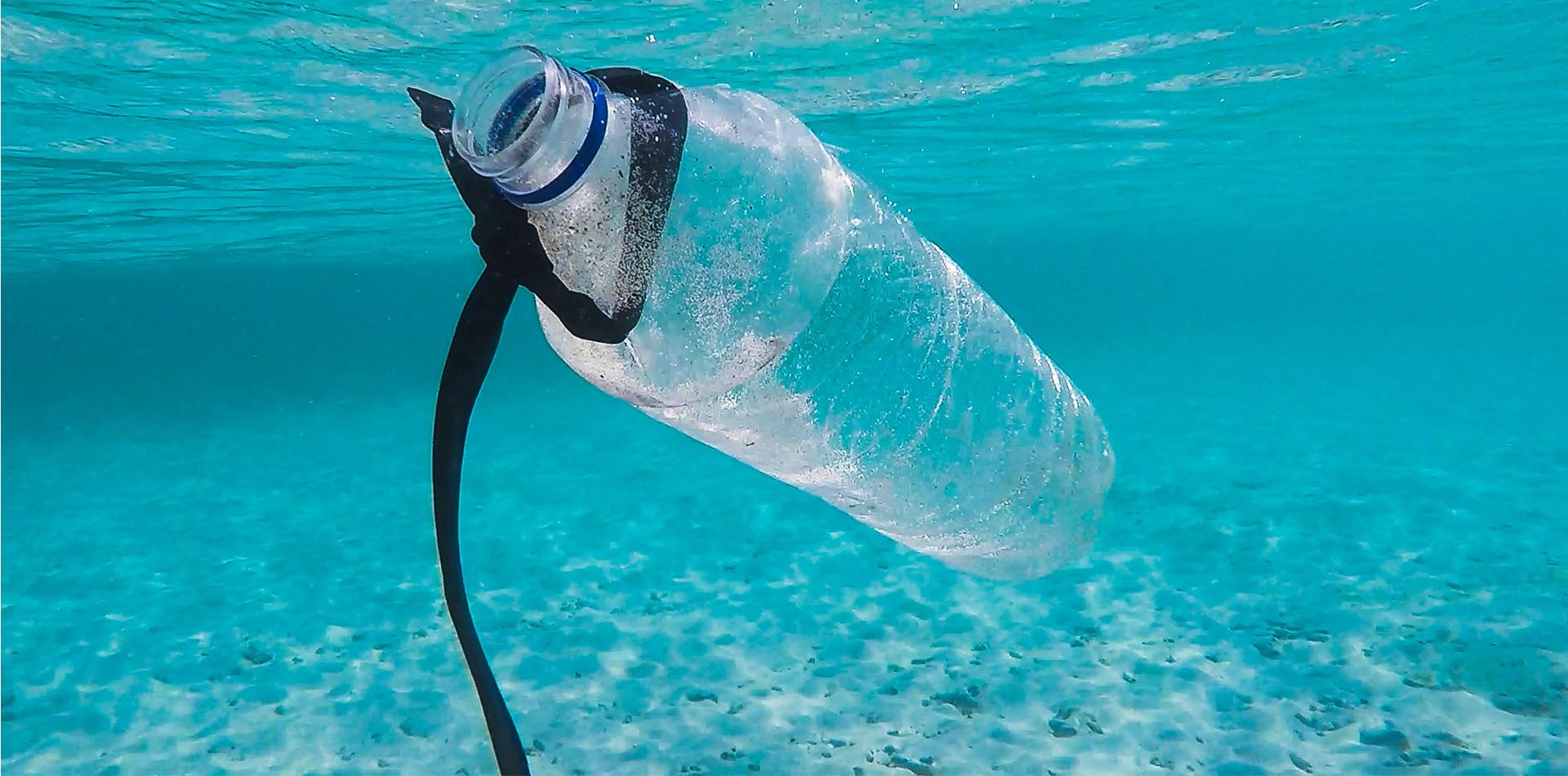 indonesia lombock underwater plastic bottle