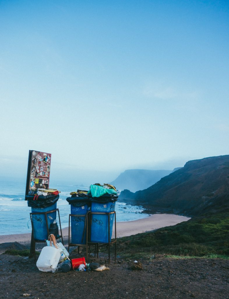 rocks portugal bins beach litter