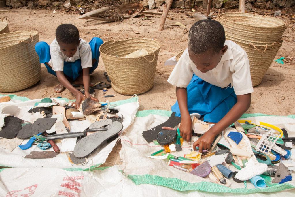 beach waste local kenyan children